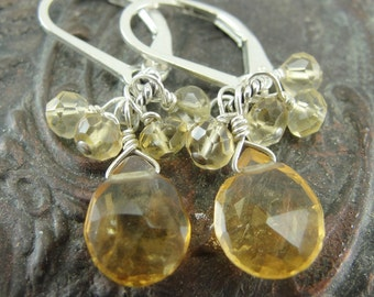 Petite Cluster Citrine Earrings by Screaming Peacock Jewelry