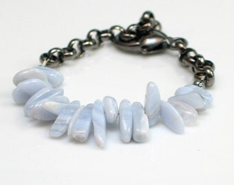 Blue Lace Agate Bracelet, Pastel Blue Stones and Dark Chain Cuff, Natural Stones Cuff, Nature Fashion