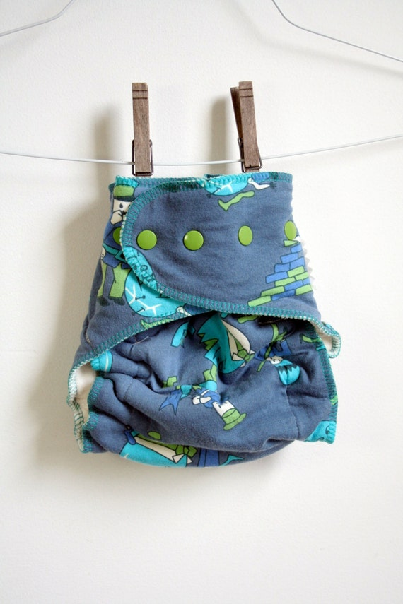 Cloth Nappy - ready to ship - Washable Reusable diaper, fitted organic cloth diaper, one size, blue Humpty Dumpty