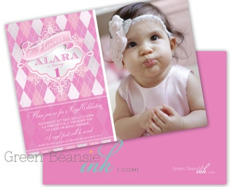 PINK ARGYLE PRINCESS Printable Party Invitation with photo Printing Available