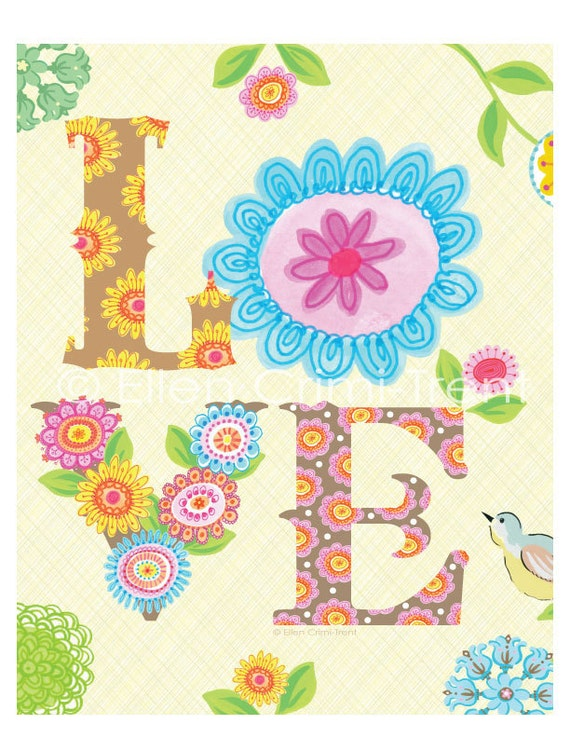 Love Typography watercolor Art Print
