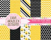 Bumble Bee Commercial Use Digital Paper Pack Chevron Stripes and Polka Dots INSTANT DOWNLOAD