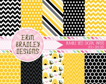 50% OFF SALE Bumble Bee Commercial Use Digital Paper Pack Chevron Stripes and Polka Dots Instant Download
