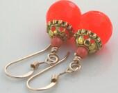 Gold Filled Earrings Dangle Candy Jade Bright Orange Dangle Earrings
