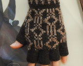 Knitted half finger soft wool gloves. Brown color with ornament. Unisex.