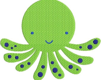Octopus with fill Machine Embroidery Design 4x4 and 5x7 Instant Download