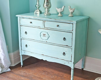 custom order antique dresser shabby chic beach cottage aqua blue distressed cottage coastal light turquoise