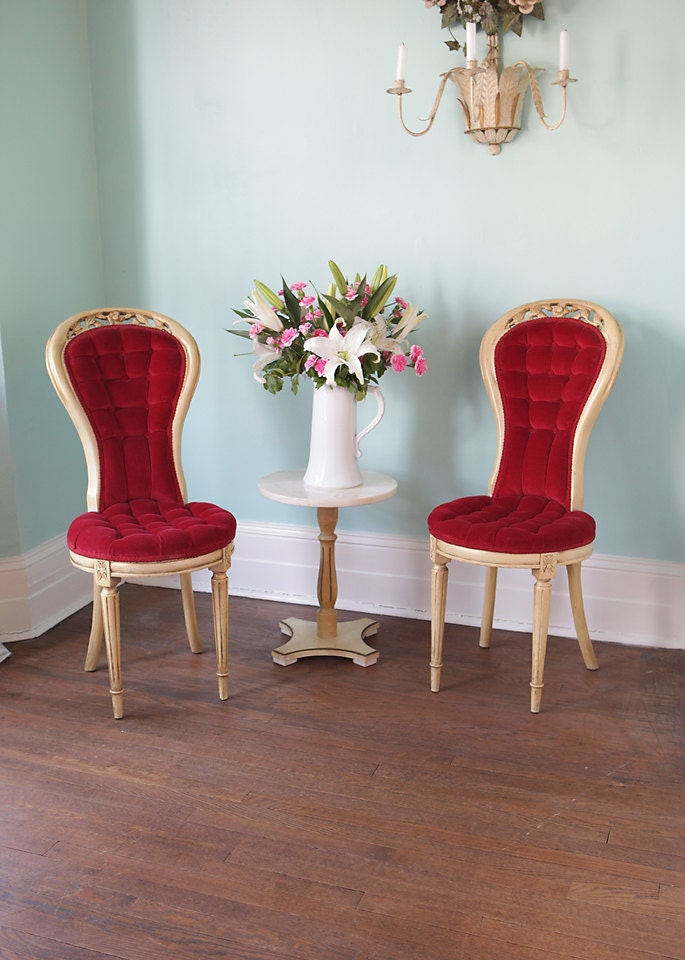 Vintage French Red Velvet Tufted Chair Pair Shabby Chic
