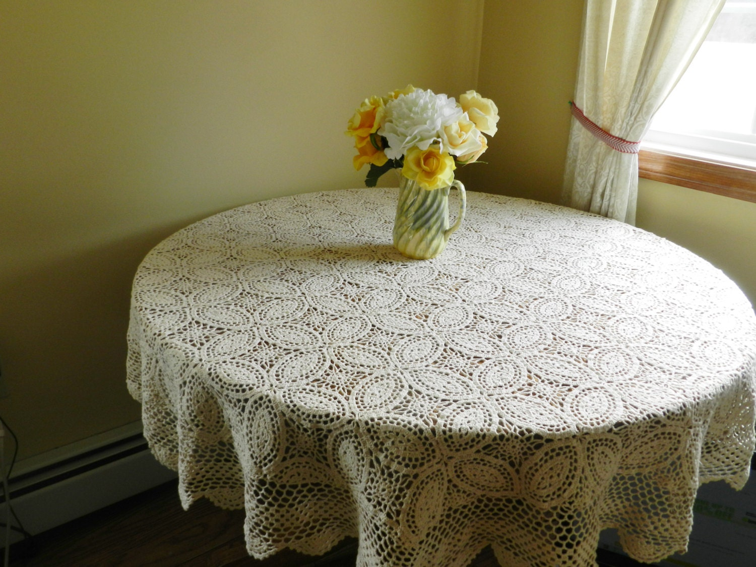 Vintage Crocheted Oval Tablecloth