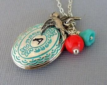 Silver Locket Necklace, Personalized Locket Necklace, Personalized Jewelry, Oval Locket Charm Necklace