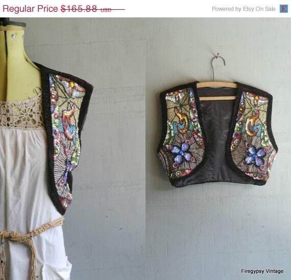 sequin beaded handmade vintage velvet satin vest