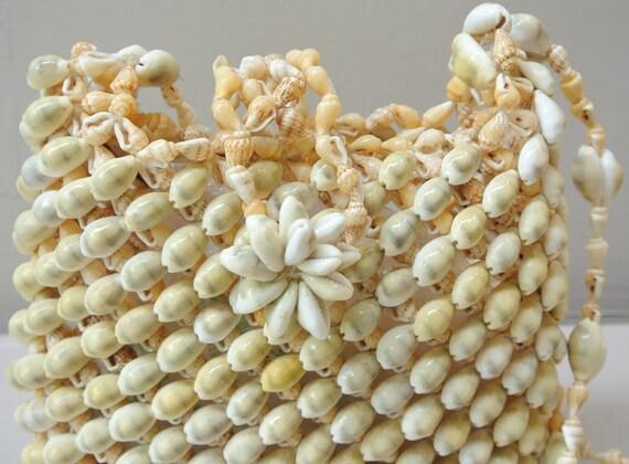 vintage purse / seashell tote art bag handmade crossbody real shell bag