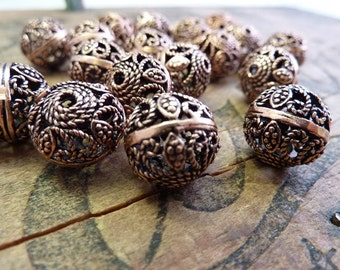 Copper Filigree Beads (2) IC428