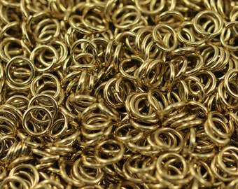 8mm Jump Ring - 100 Raw Brass Jump Rings (8x1.2mm) A0368