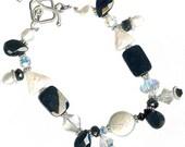 black onyx white pearl Swarovski crystal chunky sterling silver bracelet