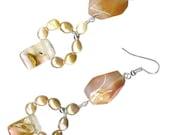 chunky earrings mauve freshwater pearl hoop tiger cherry quartz carnelian