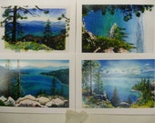 Lake Tahoe watercolor cards, box of 5 (5 x 7 cards).