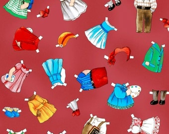 fabric PAPER DOLL school clothes | red cream | hats dresses bows shoes trousers | paint palette | Newcastle Fabrics 804-10 + 804-21