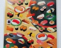 Japanese Sushi Stickers - Nigiri, Makimono, Soya Sauce Bottle, Salmon Fish, Tuna Belly, Tobiko, Tamago Egg, Eel Unagi, Cucumber, Green Tea