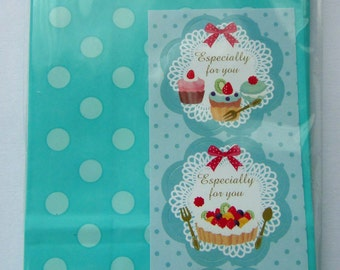 Cute Green Polka Dots Japanese Paper Gift Bags / Party Bags - Set Of 12 - Come With Fruit Tart & Cupcake Sticker Seals