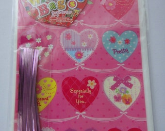 """Cute """"Especially For You"""" Japanese Pink Plastic Gift Bags / Party Bags With Hearts, Polka Dots, Ribbon, Bow, Flowers"""