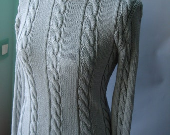Gray/Grey cabled knit sweater - Ready to ship