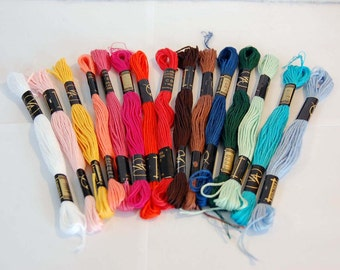 Selection of multi colour embroidery thread skeins, 100 percent cotton