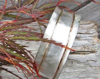 Hammered Sterling Bangle, 14K Yellow GF,  Rose GF Spinners, Ready to Ship