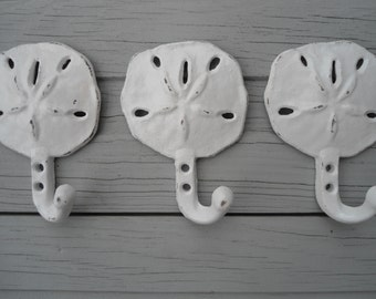 3 sand dollar hooks, beach wall hooks, nautical decor, home organization in colors you choose