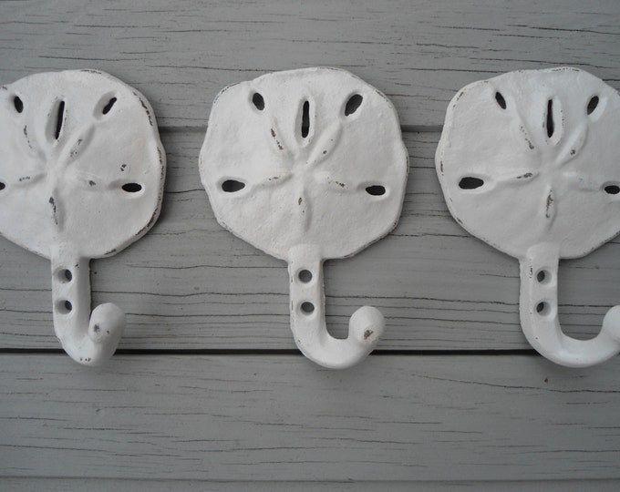 3 sand dollar towel hooks beach towel rack nautical decor coastal living tiki bar lanai porch interior home design BeachHouseDreamsOBX