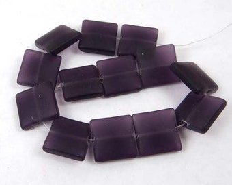 Frosted Sea Glass Square Beads (13) - Plum / Dark Amethyst 12mm (e6613)