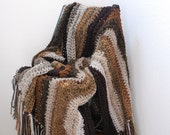 Decorative Brown Afghan Vegan Friendly Throw  Striped