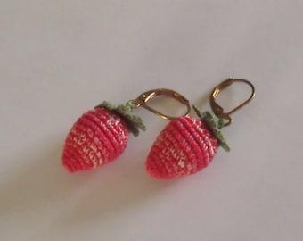 Bonnie's OOAK Crochet  Cotton Thread Item Jewelry Strawberry Earrings  @cyicrochet