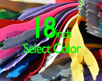 18 inch YKK Zippers Nylon Coil Skirt and Dress Closed Bottom - Each Color Ten Zippers - Select Color