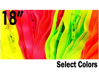 NEON ykk ZIPPERS-18 inch YKK Zipper - Neon Colors # 3 Nylon Coil Closed Bottom - Select Your own Color (each color have ten zippers)