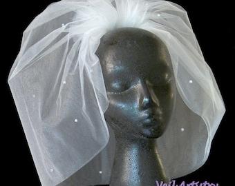 Short Wedding Veil, Crystal Veil, Bubble Veil, Sparkly Veil, Full Veil, Bouffant Veil, Handmade Veil, Vintage Inspired Veil, Bespoke Veil