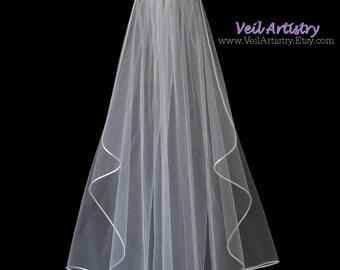 Wedding Veil, Cascade Bridal Veil, Waist Elbow Veil, Satin Cord Edge Veil, Satin Cord Veil, First Communion Veil, Custom Veil, Handmade Veil