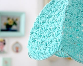 Crochet Lampshade - Aqua