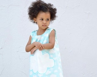 Organic Girls Cloud Dress - Blue Skies Eco Friendly Pinafore - Kids Summer Fashion in White and Aqua (Ready to Ship in 2T)