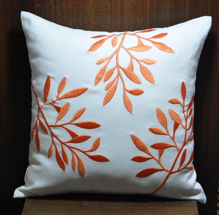 Orange white decorative pillow cover linen