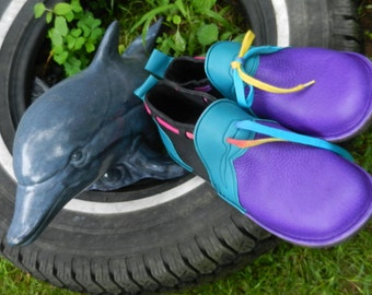 "Handmade Violet and black Leather Shoes -  - ""n0shoes"" Lightweight Vibram Sole cowhide Trim - Custom Made or, Size 5, 6, 7, 8, 9, 10"