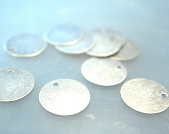 Brass charm Drop Flat Round Blank Disc Stamping Pendant 1 hole antique silver 15mm
