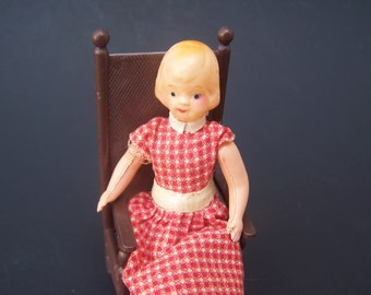 Vintage Toy Dollhouse Miniature Celluloid Big Sister Doll in a Red Plaid Dress , 1940 Rare and near mint