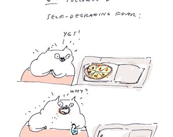 Pizza Night Card - Funny Cat Card - Pizza Card