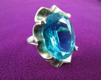 Vintage Mexican Silver Topaz-Blue Jewel Ring