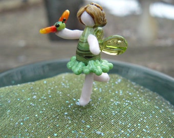 Small Glass Fairy garden accessory, fairy holding butterfly, fairy garden supply, fairy garden kit, terrarium, fairy, fairy figurine