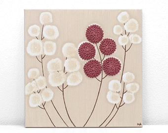 Original Painting of Flowers - Acrylic Canvas Art Khaki and Red Textured - Small 10x10