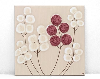 Acrylic Canvas Painting with Textured Flowers in Khaki and Red - Small 10x10