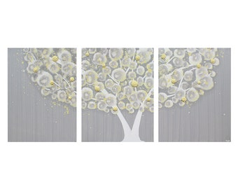 Gray and Yellow Wall Art - Textured Tree Painting on Triptych Canvas - Large 50x20