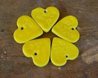 5 Heart   Ornaments Yellow    - Ceramic  Glazed   custom made - wedding ornament gift  tags Wine charm tags